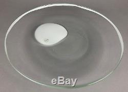 LUCIANO GASPARI, SALVIATI -GALASSIA- c1986 WHITE/CLEAR PLATE DISH PLAQUE -SIGNED