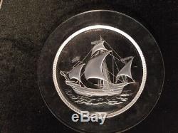 LaLique Sailboat plates 8 1/2 diameter 5 plates, signed