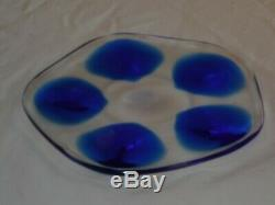 Lalique Clear Oyster Plate Dish Server 8 Signed