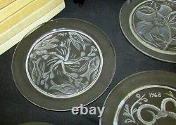 Lalique Crystal France Annual Plates 1965 Through 1976 Complete Set Of Twelve