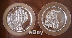 Lalique France COMPLETE 12 PC Set Annual Collector Plates Crystal 1965 1976
