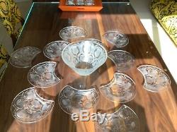 Lalique France Set Of 12-thistle 8' Crescent Salad Plate+large Chardons Bowl Set