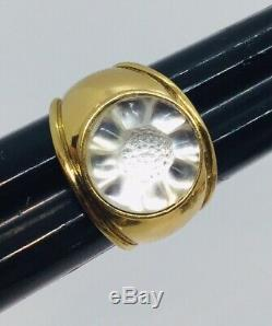 Lalique France Vintage Gold Plated Clear Crystal Flower Ring Size 6.5