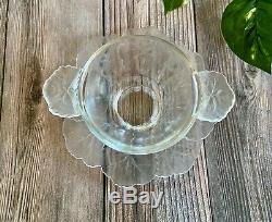 Lalique Honfleur Frosted & Clear Small Bowl with Under Plate Signed Very Nice