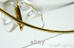 Lalique Papillon Crystal 3 Butterfly Gold Plated Wire Choker Necklace Pendant