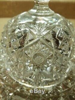 Large ABP BRILLIANT CUT GLASS CRYSTAL Dome Cheese Plate Dish Hobstar Sawtooth