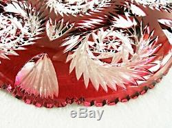 Large Antique BACCARAT Flawless Crystal Ruby Red Cut to Clear Cake Plate Bowl