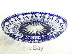 Large Antique BACCARAT Flawless Crystal Sapphire Blue Cut to Clear Cake Plate