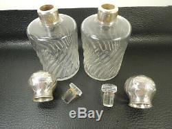 Large Pair Antique Perfume Glass Bottles Silver Plated Top Baccarat 5 1/2