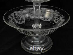 Large Vintage Bohemian Etched Three Tier Epergne 16 Inches Tall
