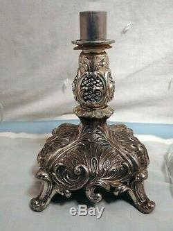 Large Vintage Duncan Miller Elegant Crystal Epergne with Silver Plate Metal Base