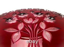 Lausitzer Ruby Red Cut to Clear Hobstar & Roses Cake Plate, Vintage w Label 11