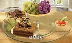 Lazy Susan Glass Rotating Cake Stand Turntable Plate Display Serving Dish