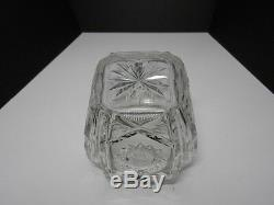 Leaded Cut Crystal Biscuit Jar Silver Plate Lid & Handle Hobstars 6 3/4 T w Lid