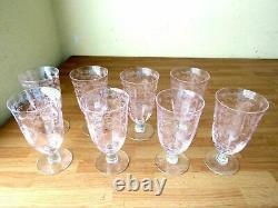 Lenox Crystal Fostoria Navarre Sets of 2 Ice Tea Goblets Pink Optic Plate Etch