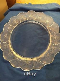 Lot Of 8 Signed Lalique 10-7/8 Dinner Plate Honfleur Geranium Glass Crystal