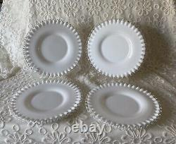 Lot Of12 Fenton Milk Glass Clear Ruffled Edging 3 Style Plates Silver Crest
