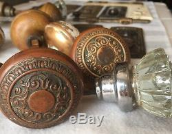 Lot Vintage 4 Sets And 4 Misc Glass And Brass Door Knobs with Door Plates