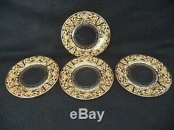 Lotus etched crystal 16 dessert plates 7in Rose Bud gold inlay 1940s-50s
