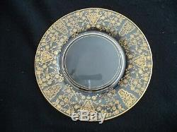 Lotus etched crystal 8 dinner plates 10.5in Rose Bud w gold inlay 1940s-50s