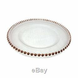 Lovely Glass Dinnerware Formal 13-Inch Beaded Rim Clear Glass Charger Plate