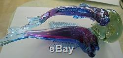 MASSIVE Barbini Double Fish With Under Plate Bowl Sommerso Bullicante 63 POUNDS