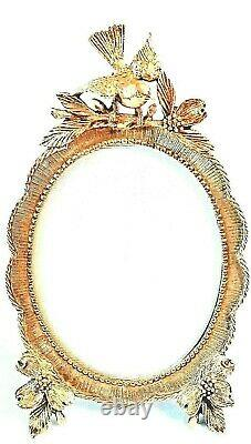 MATSON 24K GOLD PLATED VINTAGE PHOTO PICTURE FRAME Bird On Branch GIFT BEAUTIFUL