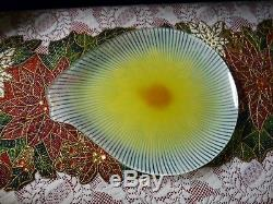MAURICE HEATON Teardrop Glass PLATE TEXTURED ENAMELED FUSED Radiant Spokes