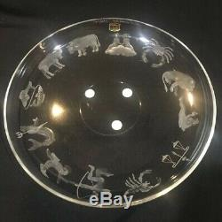 MCM SIGNEDNUMBERED Val St Lambert Zodiac Etched Cut Crystal Intaglio TORTE PLATE