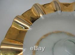 MINT Annieglass Ruffle Gold 14 x 5 Cake, H'orderves etc Pedestal Stand Plate