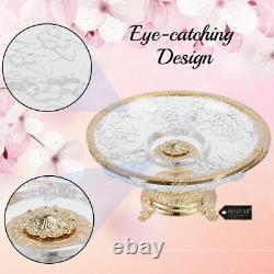 Matashi 24K Gold plated Centerpiece Decorative Bowl Serving Platter For Cakes