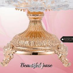 Matashi Rose Gold Plated Crystal 3 Sectional Compote Decorative Bowl For Dessert
