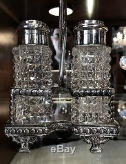 Meriden Co. Diamond Point American Brilliant Salt & Pepper in Silver Plate Stand