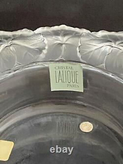 Mint! Lalique 8-3/4 Honfleur Geranium Leaf Round Bowl - France