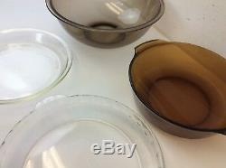 Mixed Lot Amber Clear Pyrex Mixing Bowl 362 Pie Plates 229 209 Anchor Hocking