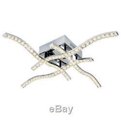 Modern 4 Arm LED Ceiling Flush Light Square Chrome Plate Clear Crystal Trim Lamp