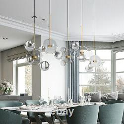 Modern Clear Bubble Chandelier Glass Globe Pendant Lamp 3 Light 14 Glass Ball