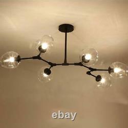 Modern Pendant Lamp Glass Chandelier 6-Light Irregular Hanging Ceiling Fixtures
