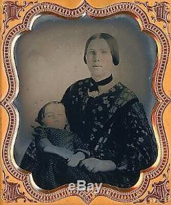 Mother Holding Post Mortem Child Deceased 1/6 Plate Clear Glass Ambrotype A280