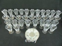 Navarre Etched Glasses 38 Pieces Water Goblets Champagne Iced Tea Plates