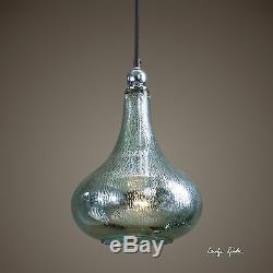 New 14 Teardrop Mercury Blue Green Glass Chrome Plated Hanging Pendant Light