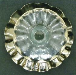 New Annieglass Platinum Rim Ruffle 14 Handcrafted Pedestal Cake Plate Mint