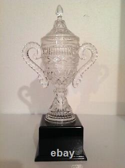 New Old Stock Unused Pressed Crystal Urn Trophy Needs Engraved Plate