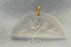 New Retired Lalique Tree Of Life Pendant & Gold Plated Chain Link France Signed