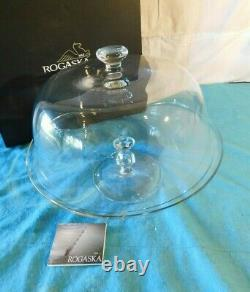 New Rogaska Crystal Footed Cake Stand Dome Plate Covered Spring 13.7 D w Box