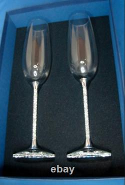 New Swarovski Crystal Filled Champagne Flutes Glasses Silver Plated Pair Tall