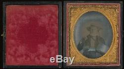 Occupational Fisherman With Fishing Rod 1/6 Plate Clear Glass Ambrotype A236
