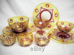 Old BOHEMIAN Ruby Red & Amber Cut To Clear Glass BOWL & PLATE Czech Stained