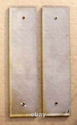 Pair 3x12 Antique Vintage Old Clear Beveled Glass Swinging Door Push Plates