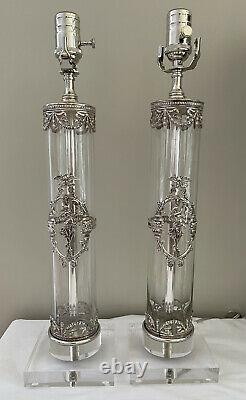 Pair French Neoclassical Silver Plate Glass Cylinder Vase Lamp Figural